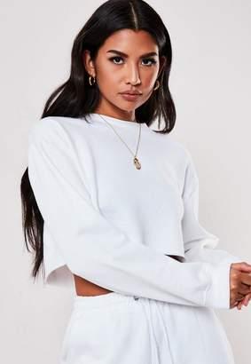 Missguided White Raw Hem Crop Sweatshirt