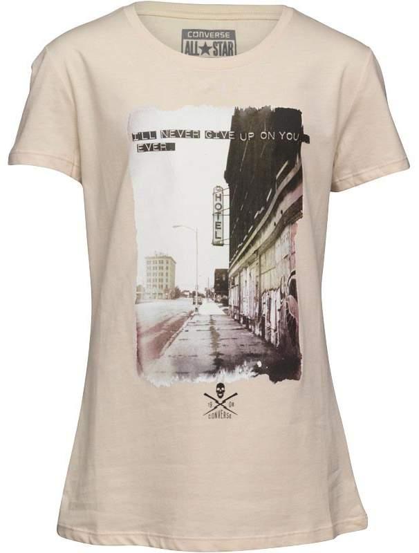 Damen Never Give Up Graphic T-Shirt Ecru