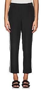 Barneys New York WOMEN'S STRIPED SATEEN CROP PANTS-BLACK SIZE XL