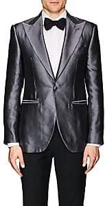 Cifonelli Men's Montecarlo Silk Satin One-Button Tuxedo Jacket - Silver