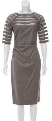 Lela Rose Virgin Wool Ruched Dress Rose Virgin Wool Ruched Dress