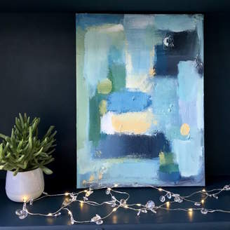 Paint-Me-Happy Art Contemporary Blue Abstract Canvas Painting Art