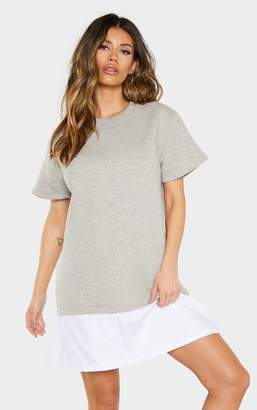 PrettyLittleThing Grey Marl Short Sleeve Shirt Hem T-Shirt Dress