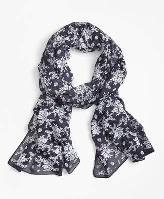 Brooks Brothers Flocked Floral-Print Scarf