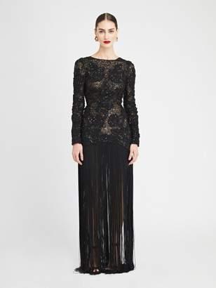 Oscar de la Renta Beaded Tulle and Fringe Gown