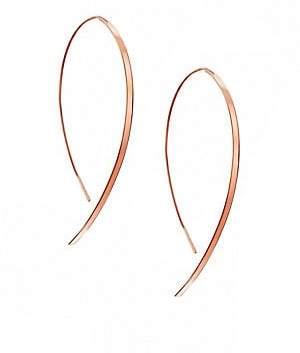 Lana Women's Hooked On Hoop Small 14K Rose Gold Flat Hook Earrings