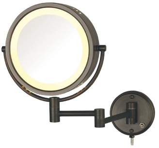 Jerdon HL75BZ 8.5-Inch Lighted Wall Mount Makeup Mirror with 8x Magnification