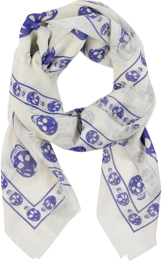 Alexander McQueen Cashmere-blend skull-print scarf