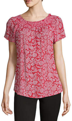 Liz Claiborne Short Sleeve Smocked Neck Top - Tall