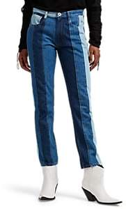 Maison Margiela Women's Striped Straight Jeans - Blue