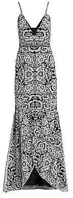 ML Monique Lhuillier Women's Embroidered Sleeveless V-Neck Gown - Size 0
