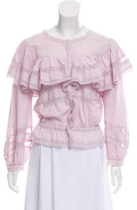 LoveShackFancy Ruffle-Accented Button Up Top