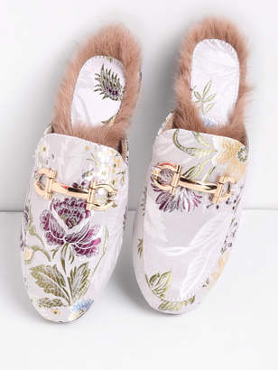 Shein Faux Fur Detail Satin Flat Loafer Slippers