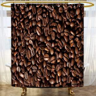 NALAHOMEQQ Grommet Shower Curtain with Printing/Colorful Fabric Shower Curtain/Home Decor Shower Curtain/Polyester Fabric Waterproof Mildew Resistant Shower Curtain Set with Hooks(Coffee Beans Background)