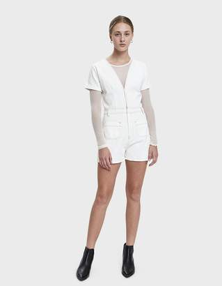 d4a3d0e058e Farrow Yassin Denim Romper in White