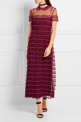 Red valentino lace trimmed tulle dress