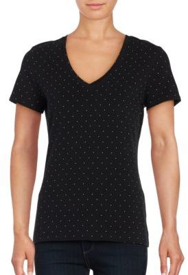 Lord & Taylor Austin Dot Short Sleeve V-Neck Tee $14.95 thestylecure.com