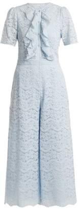 Temperley London Lunar Floral Lace Cotton Blend Jumpsuit - Womens - Light Blue