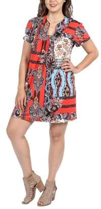 24/7 Comfort Apparel 24Seven Comfort Apparel Cynthia Orange and Turquoise Plus Size Mini Dress