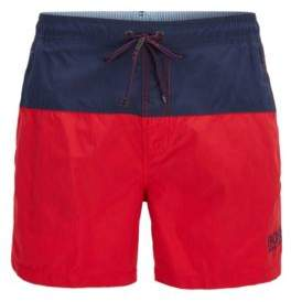 BOSS Hugo Striped Quick Dry Swim Trunk Flounder M Open Red
