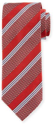 Eton Wide Broken Stripe Silk Tie, Red