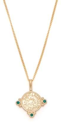 Saint Laurent Logo Engraved Stone Pendant Necklace - Womens - Gold