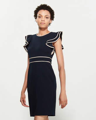 Tommy Hilfiger Contrast Trim Ruffle Sleeve Dress
