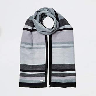 River Island Dark grey blocked blanket scarf
