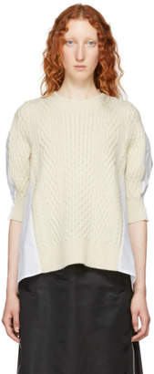 Sacai White Cotton Poplin Sweater