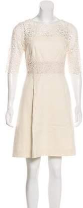 Lela Rose Lace-Trimmed Sheath Dress