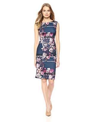Adrianna Papell Women's Sleeveless Floral Print Scuba Sheath Dress