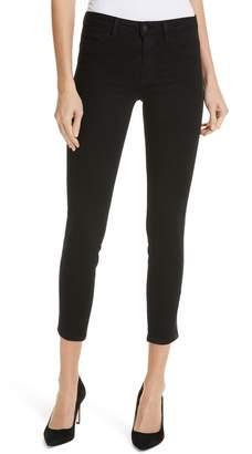 L'Agence Margot Tuxedo Stripe Crop Skinny Jeans