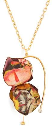 Marni Flower Petal Pendant Necklace - Womens - Red