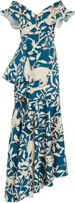Johanna Ortiz Exclusive Autumn Town Leaves Cotton-Blend Gown