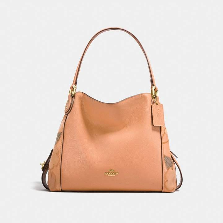 Coach New YorkCoach Edie Shoulder Bag 31 With Patchwork Tea Rose And Snakeskin Detail - APRICOT/LIGHT GOLD - STYLE