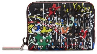 Christian Louboutin Panettone Spike Embellished Leather Wallet - Mens - Black Multi