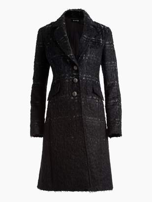 St. John Degrade Brushed Plaid Mohair Wool Blend Jacket