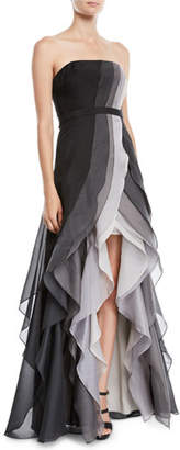 Halston Strapless Ombré Tiered Ruffle Gown