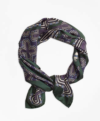Brooks Brothers Geometric-Print Silk Square Scarf