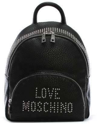 Love Moschino Bavarian Black Studded Logo Backpack