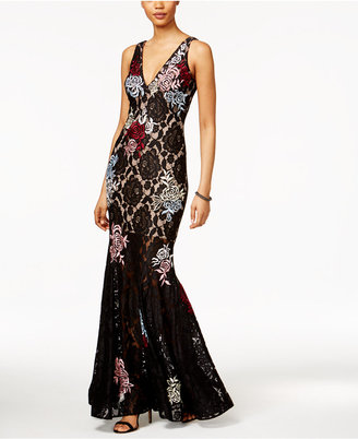 Betsy & Adam Embroidered Lace Mermaid Gown $319 thestylecure.com