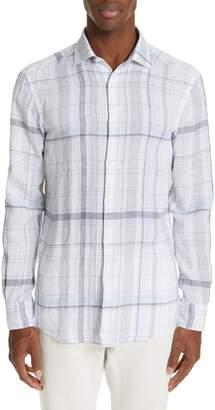 Ermenegildo Zegna Slim Fit Plaid Linen Sport Shirt