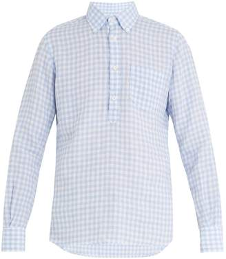 Glanshirt Eric point-collar gingham linen shirt