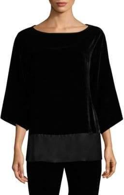 Natori Pullover Velvet Bell-Sleeve Top