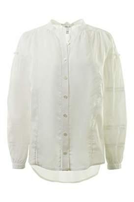 Derek Lam 10 Crosby Long Sleeve Lace Inset Blouse w/Pleats in (