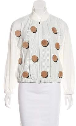 Fendi Leather-Trimmed Appliqué-Accented Jacket w/ Tags
