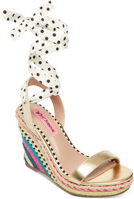 3781075ba6f3 Betsey Johnson Colvin Tie-Up Wedge Sandals Women Shoes