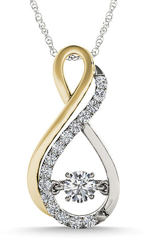 JCPenney FINE JEWELRY Love in Motion 1/7 CT. T.W. Diamond 10K Two-Tone Gold Infinity Pendant Necklace