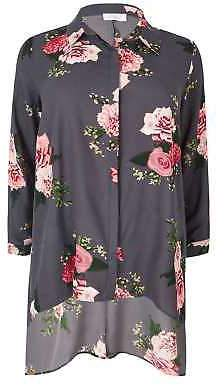 Yours Clothing Women's Plus Size Yours London & Pink Floral Hanky Hem Shirt
