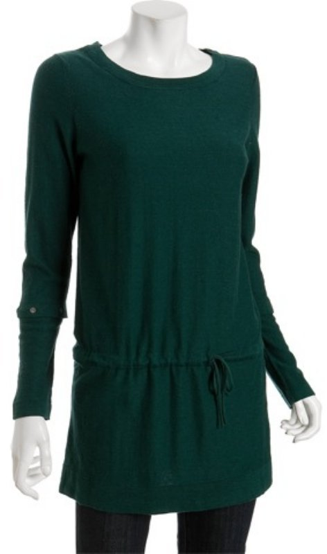 Smitten emerald cotton-cashmere convertible sleeve tunic